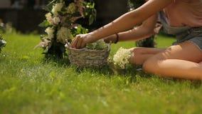 El carro fresco esmeralda del resbalador de la hierba tiró de una muchacha que hacía un arco floral sobre la hierba verde para la metrajes