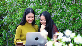 El carro tiró de adolescente asiático lindo con el ordenador portátil en el jardín Fotografía de archivo libre de regalías