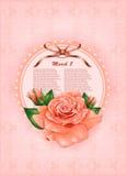 El carte cadeaux hermoso con la rosa del pastel y el regalo arquean Imagen de archivo libre de regalías