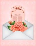 El carte cadeaux hermoso con la rosa del pastel y el regalo arquean Imagen de archivo