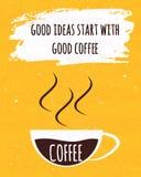 El cartel colorido de la tipografía con cita de motivación es una buena idea viene con una taza de café brasileño fuerte en vieja ilustración del vector