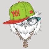El cartel con el retrato del búho de la imagen en sombrero del hip-hop Ilustración del vector Imagen de archivo