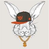 El cartel con el retrato del conejo de la imagen en sombrero del hip-hop Ilustración del vector Foto de archivo libre de regalías