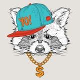 El cartel con el retrato del mapache de la imagen en sombrero del hip-hop Ilustración del vector Imágenes de archivo libres de regalías