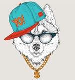 El cartel con el retrato fornido de la imagen en sombrero del hip-hop Ilustración del vector Fotos de archivo libres de regalías