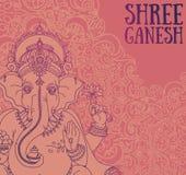 El cartel con Lord Ganesha, se puede utilizar como tarjeta para la celebración Ganesh Chaturthi Imagenes de archivo