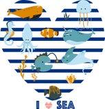 El cartel con los animales de mar ama el ejemplo del vector del mar, EPS stock de ilustración