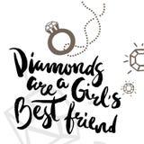 El cartel con los diamantes caligráficos de la frase es el mejor amigo de una muchacha ilustración del vector