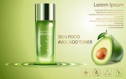 El cartel cosmético del producto de la belleza, anuncios de la crema del aguacate de la fruta con la botella de plata empaqueta l Imagenes de archivo