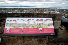 El cartel de la información en Argyle Battery Wall y la opinión de la ciudad en Edimburgo se escudan Foto de archivo libre de regalías
