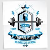 El cartel de la motivación del levantamiento de pesas compuesto con deporte del barbell equipa libre illustration