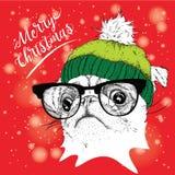 El cartel de la Navidad con el retrato del barro amasado de la imagen en sombrero del invierno Ilustración del vector Foto de archivo
