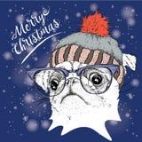 El cartel de la Navidad con el retrato del barro amasado de la imagen en sombrero del invierno Ilustración del vector Fotografía de archivo libre de regalías