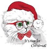 El cartel de la Navidad con el retrato del gato de la imagen en el sombrero de Papá Noel Ilustración del vector Fotografía de archivo libre de regalías