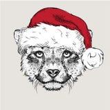 El cartel de la Navidad con el retrato del guepardo de la imagen en el sombrero de Papá Noel Ilustración del vector Foto de archivo libre de regalías