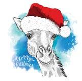 El cartel de la Navidad con la imagen del retrato de la jirafa en sombrero del ` s de Papá Noel Ilustración del vector Fondo abst Fotos de archivo
