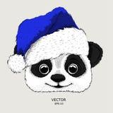 El cartel de la Navidad con el retrato de la panda de la imagen en sombrero del ` s de Papá Noel Tienda extrema del deporte Fotos de archivo libres de regalías