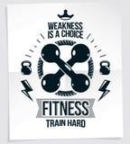 El cartel de la publicidad del centro de deportes compuesto con dos pesas de gimnasia cruzó, equipo de deporte del vector La debi stock de ilustración