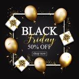 El cartel de la venta de Black Friday con los globos brillantes del oro, regalos encajona encendido stock de ilustración