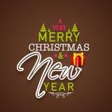 El cartel de las celebraciones de la Feliz Navidad y del Año Nuevo diseña con la pocilga Imágenes de archivo libres de regalías