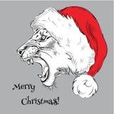 El cartel de los christmass con el portrai del león de la imagen Ilustración del vector Fotografía de archivo