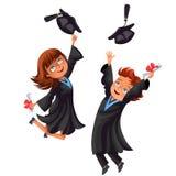 El cartel de los estudiantes universitarios con los graduados felices de celebra la graduación de estudios secundarios stock de ilustración