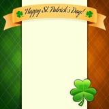 El cartel del día de St Patrick con los colores de la bandera irlandesa Foto de archivo