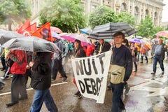 El cartel del debout de Nuit en puede protestar contra reformas del trabajo de Francia Imágenes de archivo libres de regalías