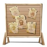 El cartel del oeste, viejo salvaje quiso en el tablero de madera Fotografía de archivo