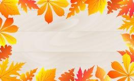 El cartel del otoño con caer se va en un fondo de madera stock de ilustración