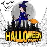 El cartel del partido de Halloween con la bruja en un blanco aisló el fondo Foto de archivo
