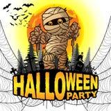El cartel del partido de Halloween con la momia en un blanco aisló el fondo Imagen de archivo
