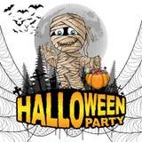 El cartel del partido de Halloween con la momia en un blanco aisló el fondo Fotografía de archivo