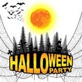 El cartel del partido de Halloween en un blanco aisló el fondo Vector IL Foto de archivo