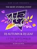 El cartel del partido del otoño del vector con las letras dibujadas mano, hojas de otoño brillantes, garabato ramifica Imagenes de archivo
