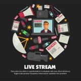 El cartel del vector de la retransmisión en directo de las noticias de última hora del presentador estrella en la televisión y el Imagen de archivo libre de regalías