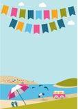 El cartel del verano con color señala delfínes, la furgoneta y los paraguas por medio de una bandera libre illustration