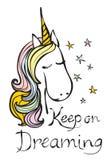 El cartel del vintage con el texto escrito elegante del unicornio y de la mano guarda en el sueño ilustración del vector