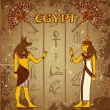 El cartel del vintage fijó con dios egipcio, faraón y la fan en el fondo del grunge con las siluetas del jeroglífico egipcio anti libre illustration