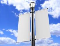El cartel en blanco 3d de la bandera de los posts de la lámpara blanca hace para la mofa ascendente y el diseño 3d de la plantill stock de ilustración