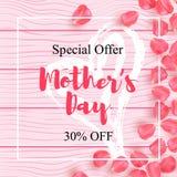 El cartel feliz de la venta del día de madre con el pétalo subió diseño en la textura de madera Fondo de madera realista con pala stock de ilustración