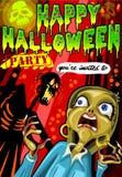 El cartel invita para el partido de Halloween Imagenes de archivo