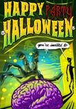 El cartel invita para el partido de Halloween Fotografía de archivo libre de regalías