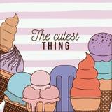 El cartel más lindo de la cosa con helado y alinea el fondo colorido Fotos de archivo