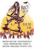 El cartel para el festival de la roca de la música pesada Un hombre con el pelo largo que toca la guitarra stock de ilustración