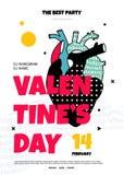 El cartel para un partido el día de tarjeta del día de San Valentín en el estilo de los años 80 stock de ilustración