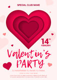 El cartel para un partido en honor del día de tarjeta del día de San Valentín ilustración del vector
