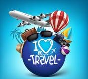 el cartel realista del viaje 3D y del viaje diseña en todo el mundo Imagen de archivo