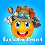 el cartel realista del viaje 3D y del viaje diseña en todo el mundo con los elementos del emoticon y del verano de la sonrisa ilustración del vector