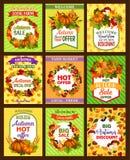 El cartel retro de la venta del otoño fijó con la hoja de la temporada de otoño stock de ilustración